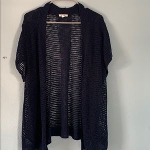 Maurice's open front navy cardigan